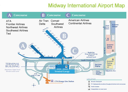 Midway airport map : Terminal services - ground transportation